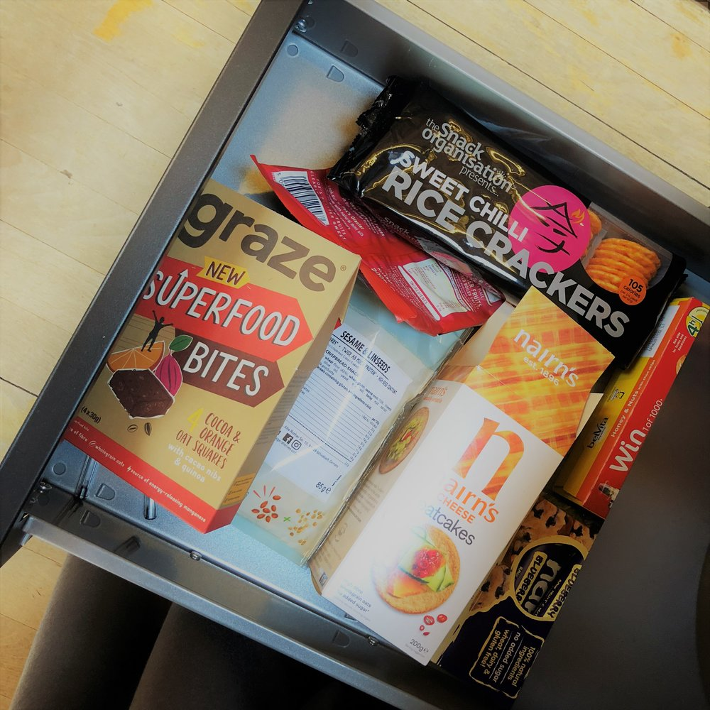 My comprehensive snack drawer