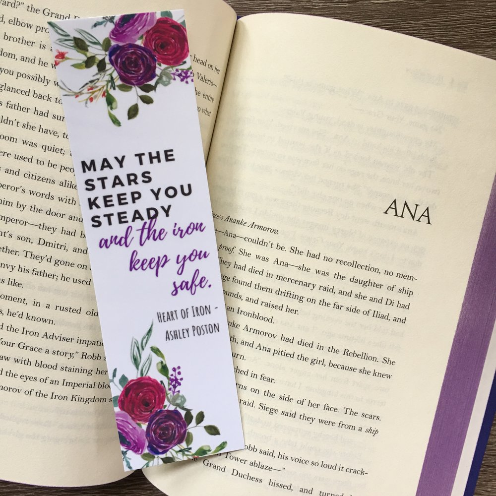 I was inspired to design a bookmark with this beautiful quote from  Heart of Iron !   Get yours in my Etsy shop .