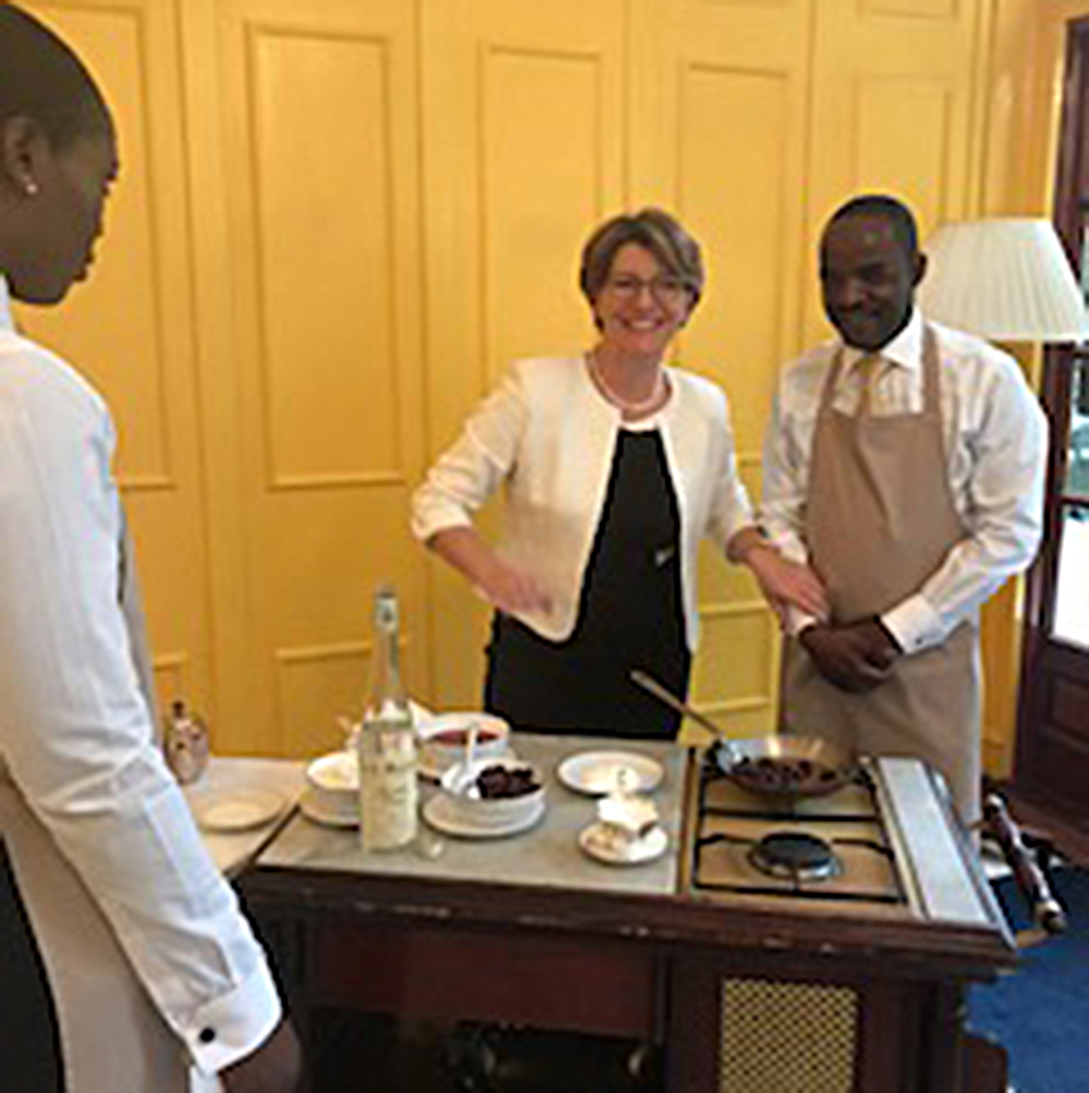 "Yes! Headmistress - Veronique Bonnefoy - ""The Headmistress"" teaching her famous Cerises Jubilee. She thought life was interesting under Gordon Ramsay! With 2 of our fabulous students."