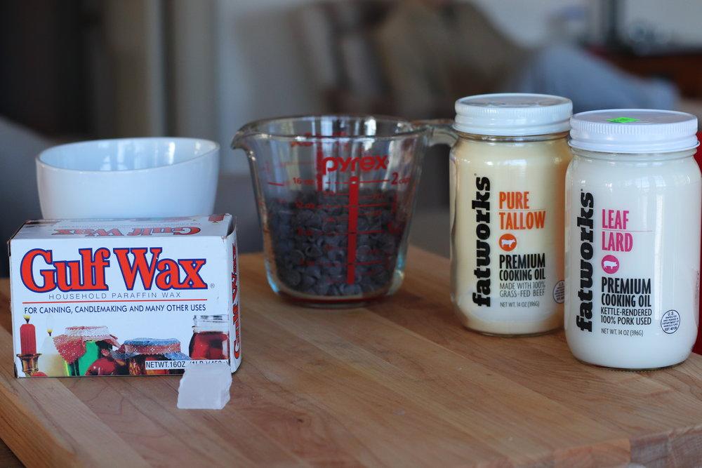 I use a tiny chunk of wax.