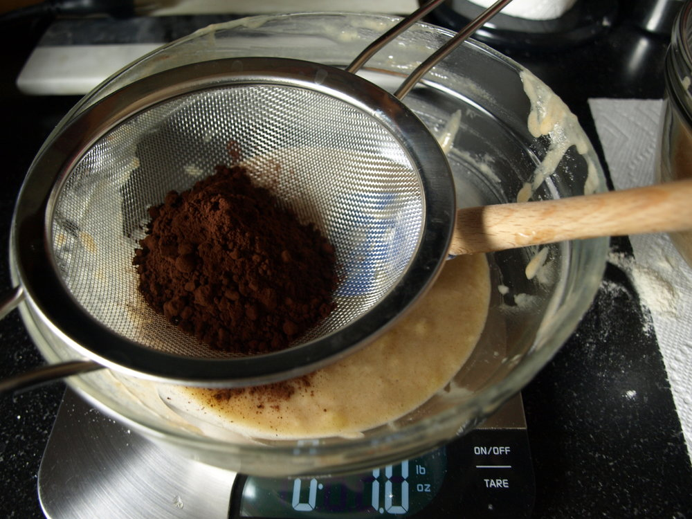 Sift cocoa powder into 1/3 of batter.