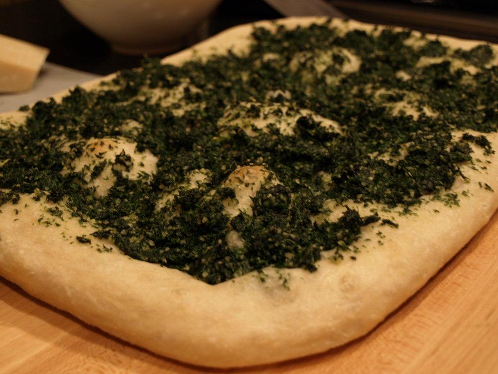 Pizza, Pan - High Altitude Mustard Green Pesto
