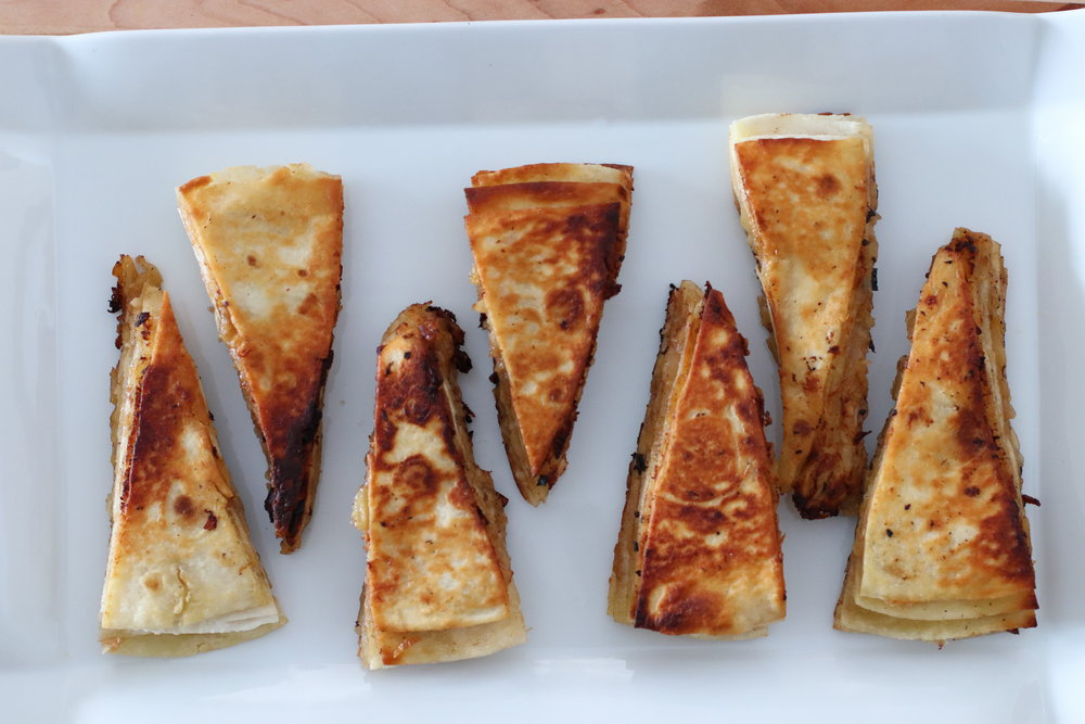 Onion-Garlic Tortilla Stackers