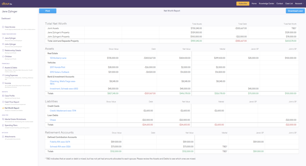 Automatically-Generated Divorce Net Worth Statement - dtour.life automatically creates a comprehensive net worth statement for you. Simply enter your family's assets and debts and assign each item to both spouses or to an individual spouse and dtour.life does the rest.