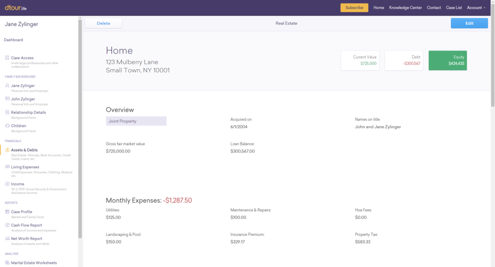 Detail Pages - Each asset and debt has an associated detail page that contains comprehensive information about the asset or debt, including the expenses associated with carrying it.