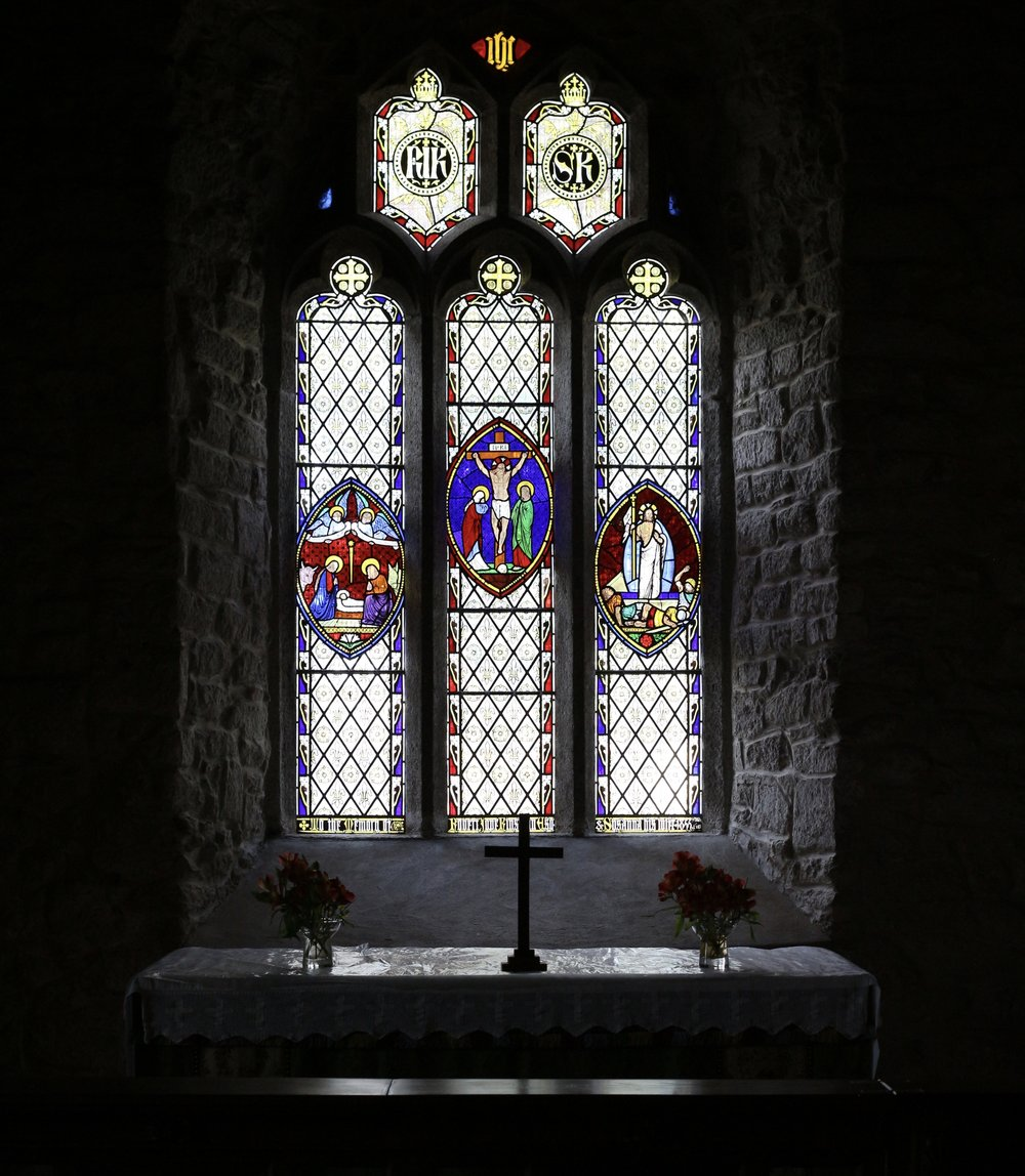 East window at St Budock church