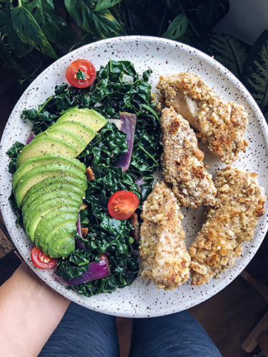 We made these DELICIOUS cashew crusted chicken breast for lunch one day. I can't believe I've never tried something like this before. The flavor and texture was perfect.