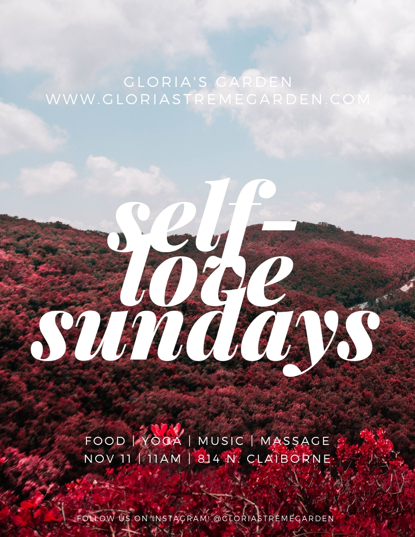 Self Love Sunday's at the Garden! - Sunday November 11th at 11am come join us for a day of relaxation and self love. We will have a by donation yoga class by Diana @wednesdaytomorrowbird , chair massages by Mollie @souldiggybaby and baked goods and other treats available.