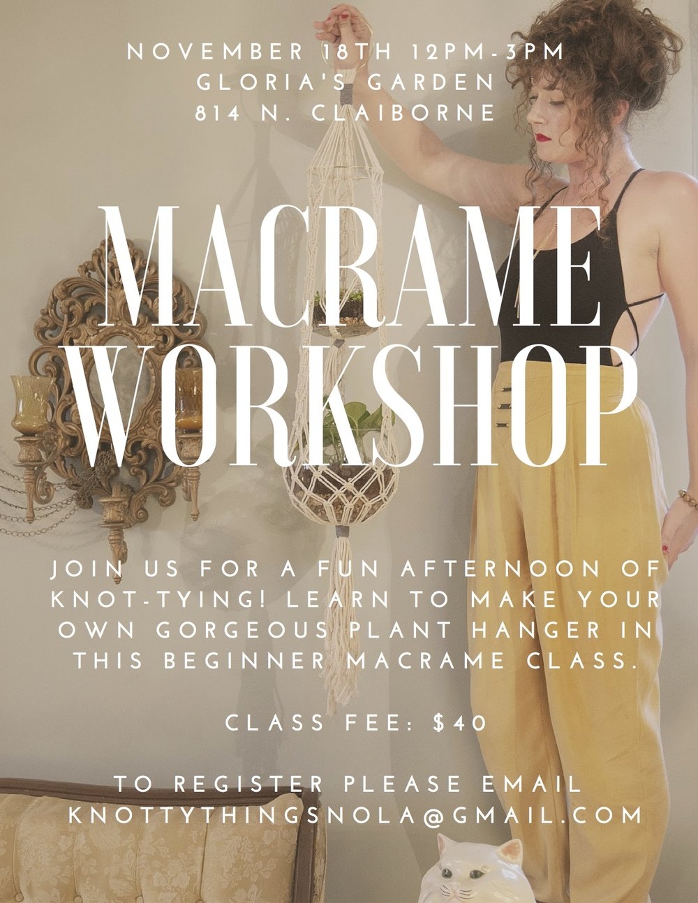 Beginner Macrame Workshop at the Garden! - Join us Nov. 18th, 12:00 pm-3:00 pm for a fun afternoon of knot-tying! Learn to make your own gorgeous plant hanger in this beginner macrame class!.Class fee: $40In this three-hour workshop you will:Learn how to begin a macrame piece, including an overview of necessary materials.How to work a few different macrame knots,How to create design, texture, and pattern within your piece by varying the knots as you work.Leave with a finished plant hanger, and the know-how to design and create more pieces on your own.We provide all the materials you need to complete your unique piece of art.This is a creative and fun class that will give you the basic skills to create a Macramé plant hanger.