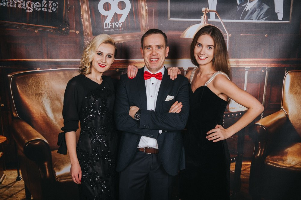 LIFT99 founder Ragnar Sass with event manager Karina Univer and Maarika Truu, head of Startup Estonia