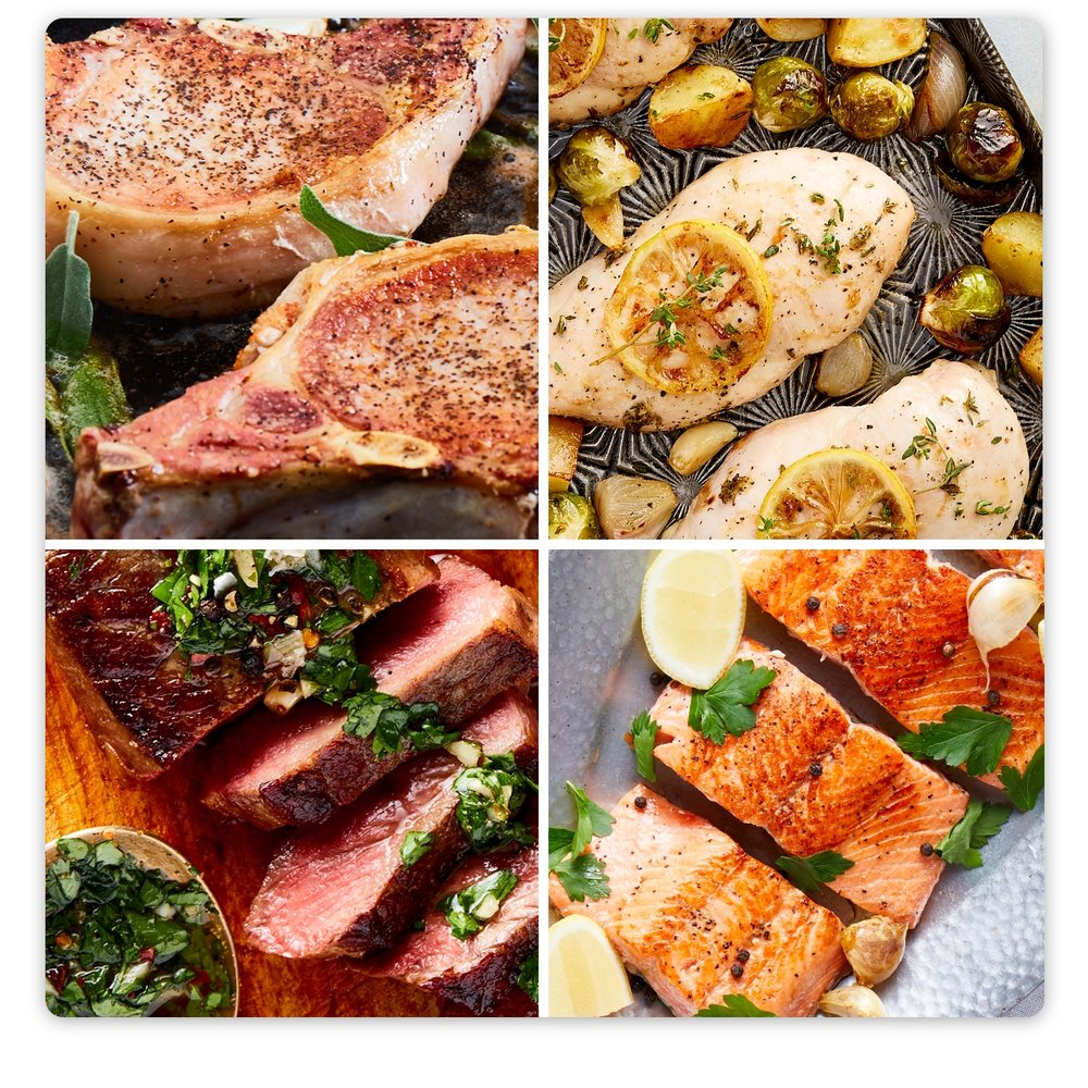 Ultimate Sampler Box: Pork, Beef, Chicken & Seafood Box    8.125 lbs, 19 Servings, $5.69/Serving   • Organic Boneless Skinless Chicken Breasts ( 2 breasts)  • Pasture-Raised Ground Beef 85/15 Fat ( 2 lbs ) • Grass-Fed New York Strip Loin Steaks  2 (10-oz)   steaks  • Wild-Caught Sockeye Salmon 4-5  pieces (24-oz total)   •Pasture-Raised Boneless Pork Loin Chops  2 (6-oz)   chops