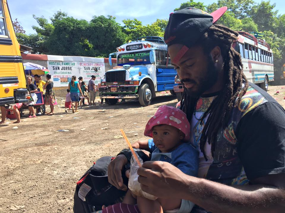 K and Xaria at local bus station in Nicaragua, 2015