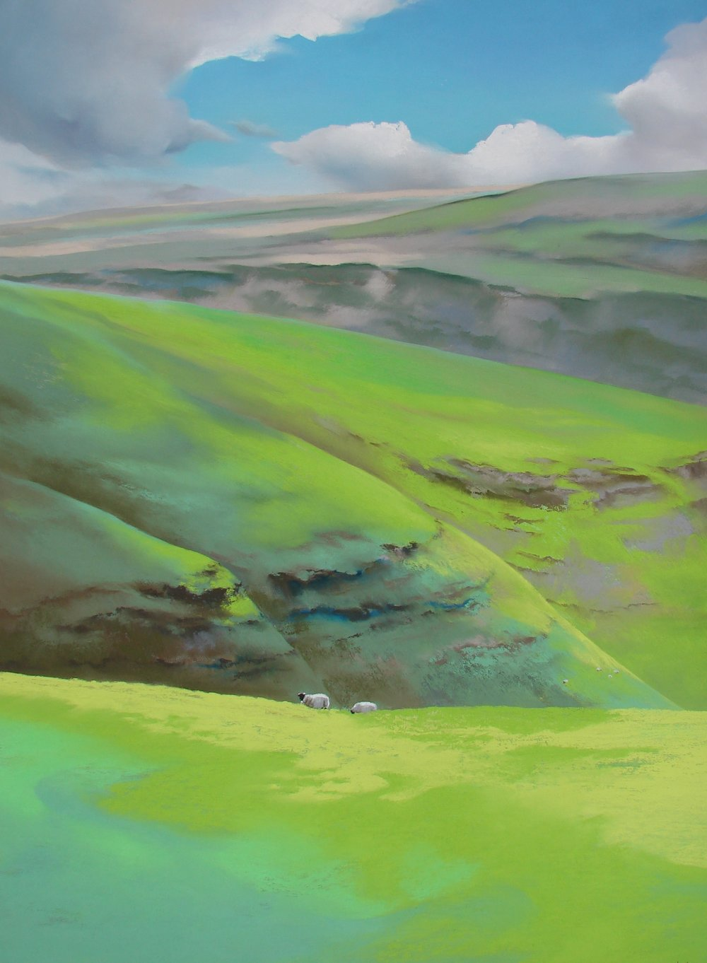 - It is therefore not surprising that these spaces are the focus of many of my compositions!'ABOVE KETTLEWELL WITH SHEEP'Here I enjoy the bright green pastures of some of the upper limestone scenery above Kettlewell (the purples were an oversimplification on my map). From these upper moors you can look straight over the valleys, across the hidden valley bottoms to the moors opposite; across Wharfedale towards the distant contours of Littondale.