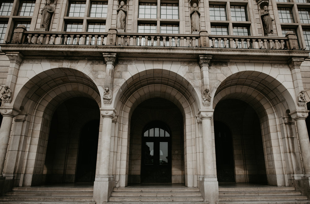 Rotterdam City Hall. Just the front doors, with huge stone arches.