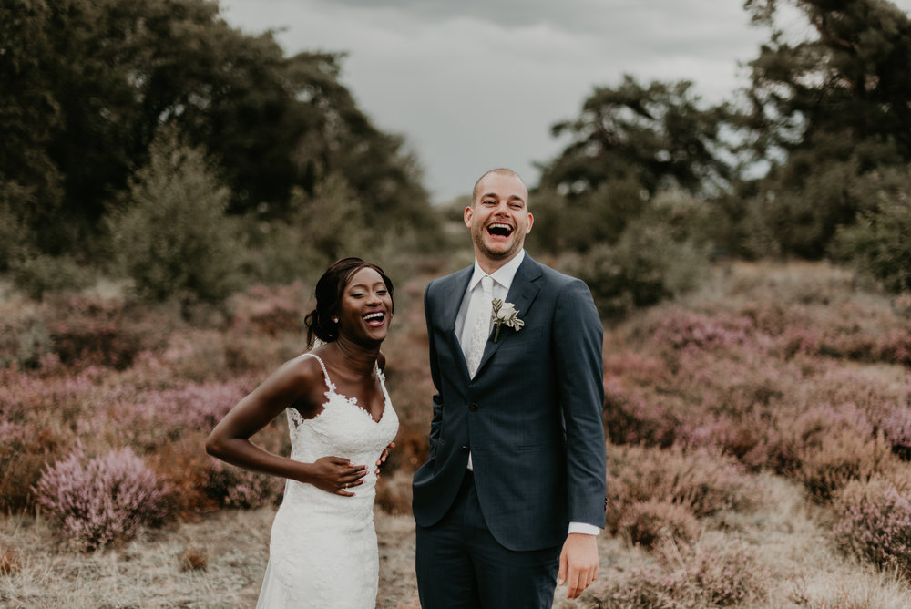 Romantic Dutch-Ghanaian Wedding in Zwolle portraits at the hunnebedden