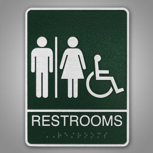 "8-1/2"" X 7x1/4""  ADA Compliant Restroom Identification"