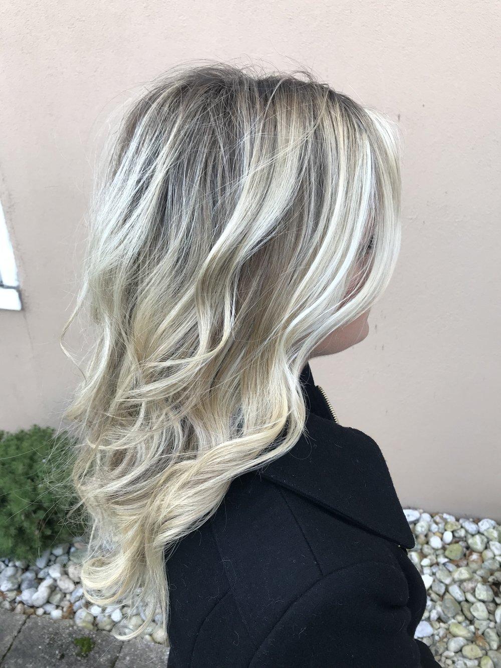 shadowed root + icy blonde