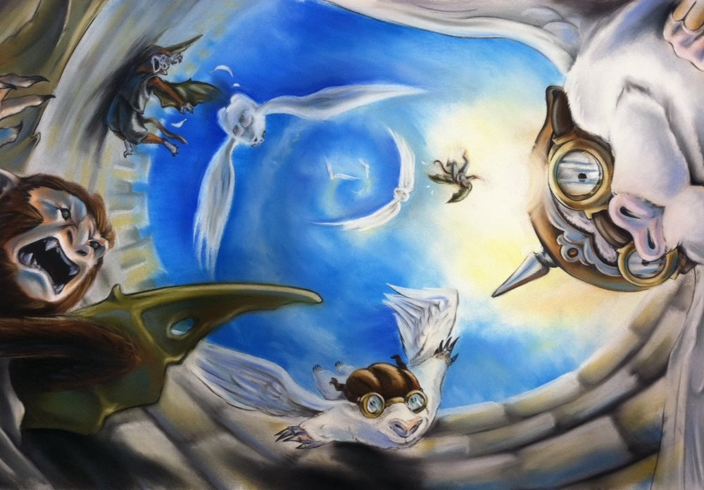 """Flying Moles Vs. Winged Monkeys"" from  The Empress of Otherworld  by artist Amory Abbott"