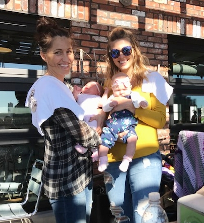 Alexandra and I with a mom and baby friend at a Brooklyn mom group at about 2 months