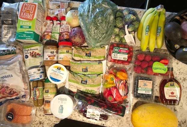 Whole Foods: Example of weeks worth of groceries paired with our pantry basics. Typical week of groceries like this is $130.