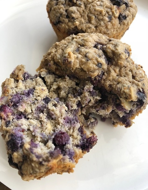 This variation I used banana, the oat mixture flour and mixed the blueberries, pumpkin seeds and chia in the mix.