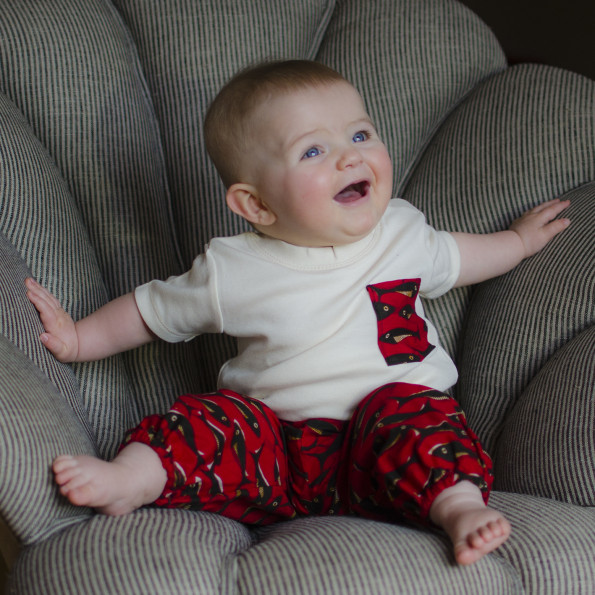 Minnie in our new big fish little fish pants & organic tee.