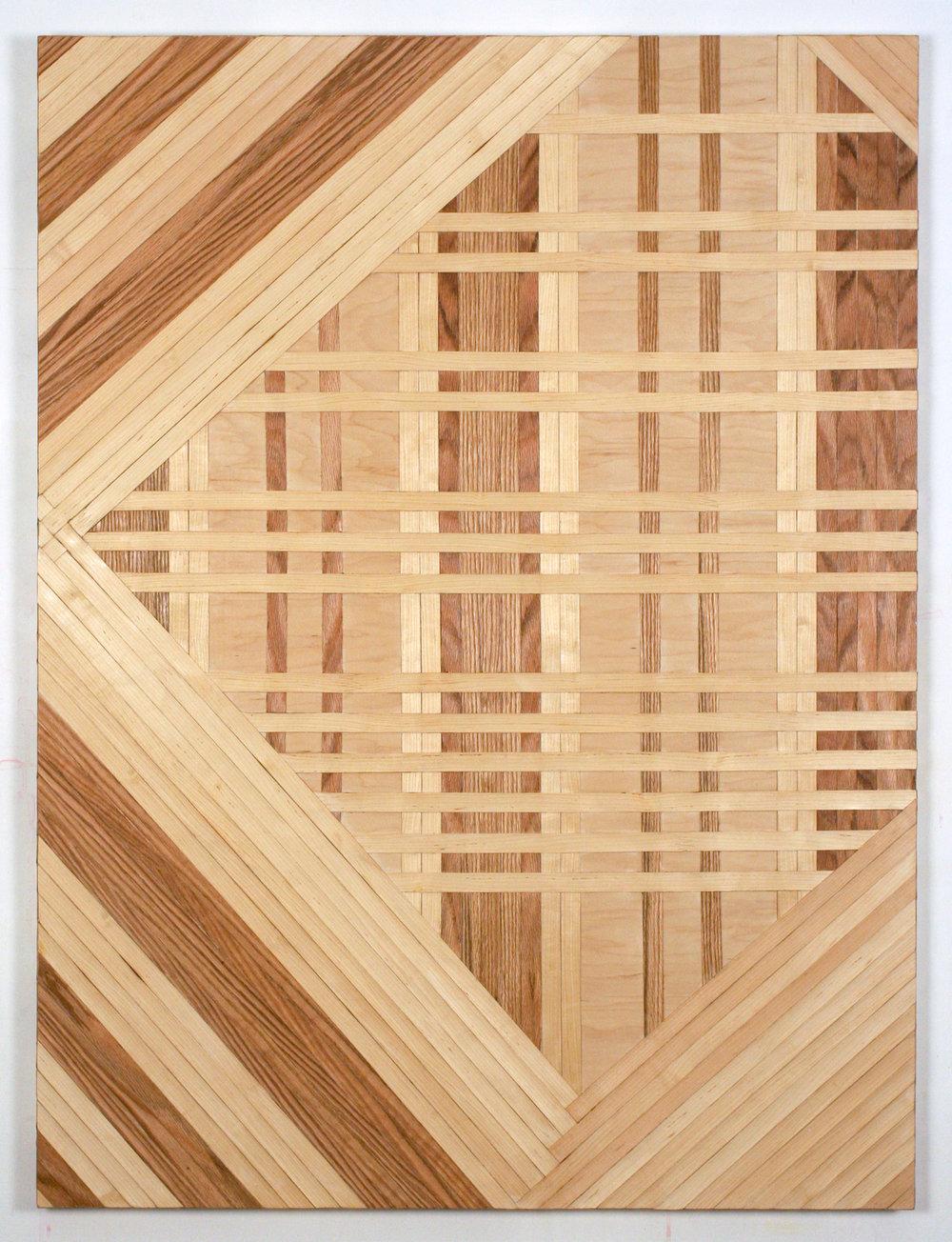 ideology  2016 red oak and birch veneer edge banding on panel  48 in x 36 in