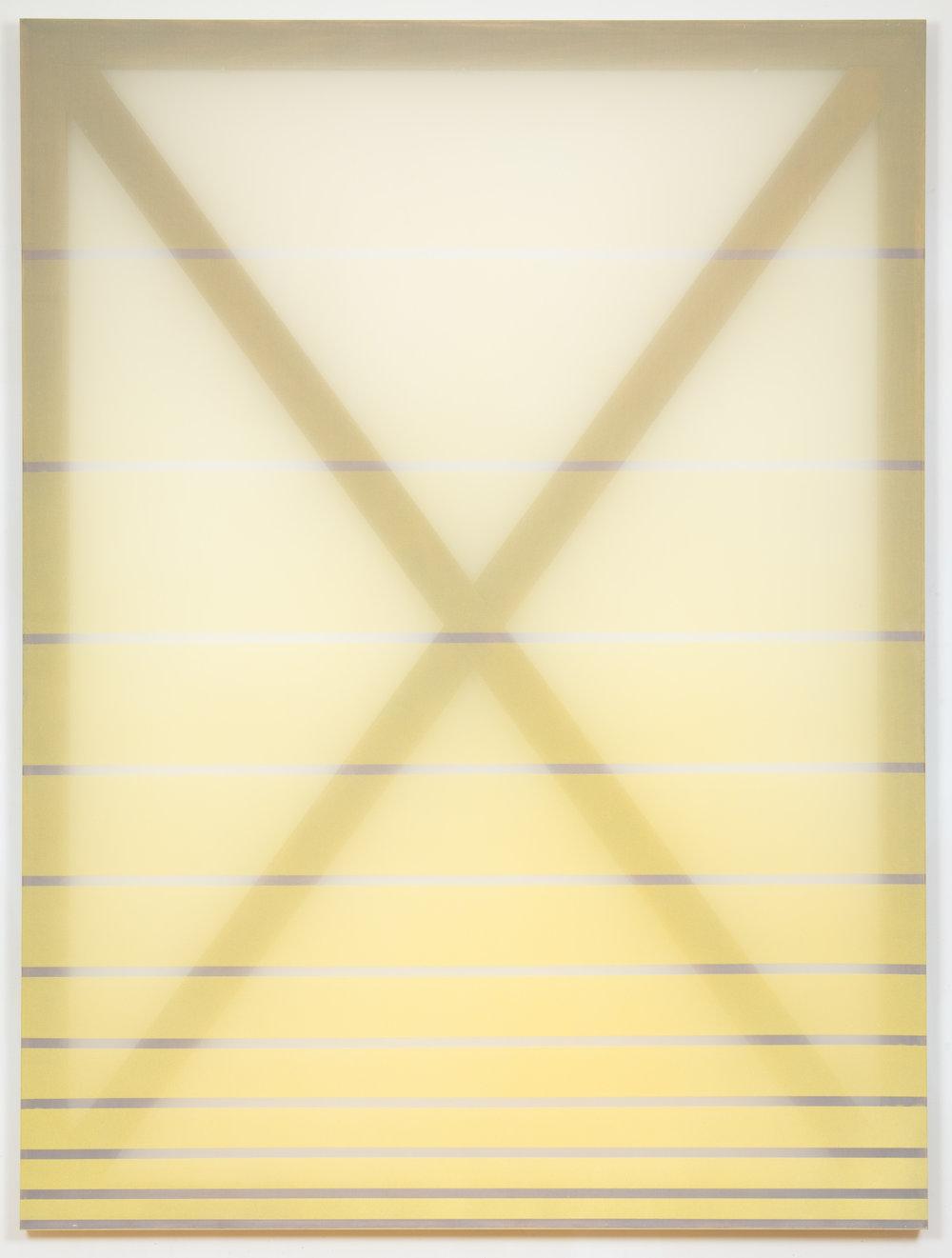 X (yellow) 2015 oil and acrylic on silk 60 in x 45 in