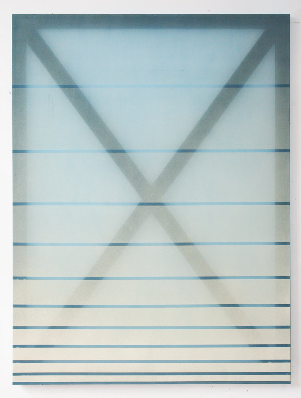X (cream and blue)  2014 oil and acrylic on silk 60 in x 45 in