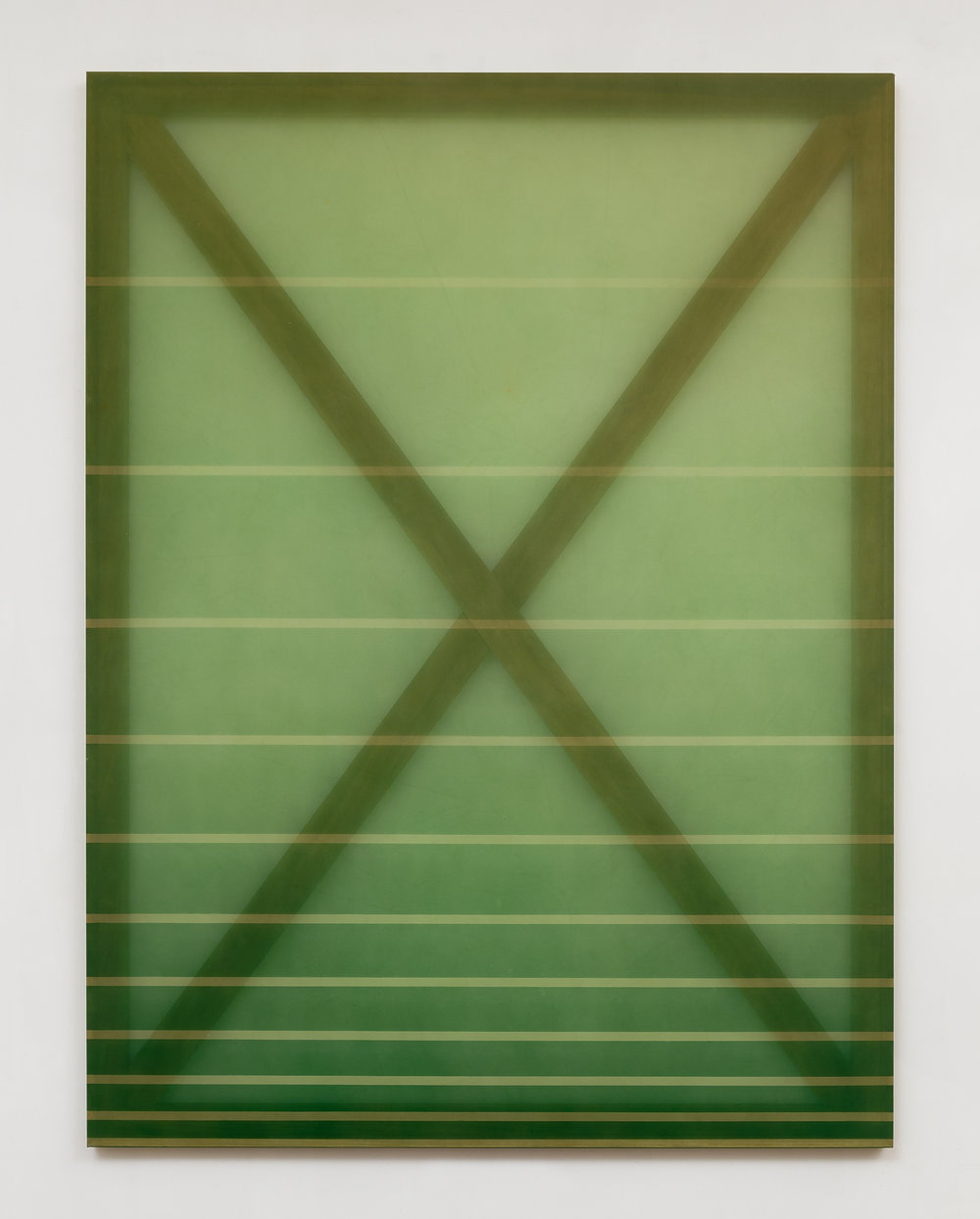 X (green and pale green)  2015 oil, acrylic, and dye on silk 60 in x 45 in