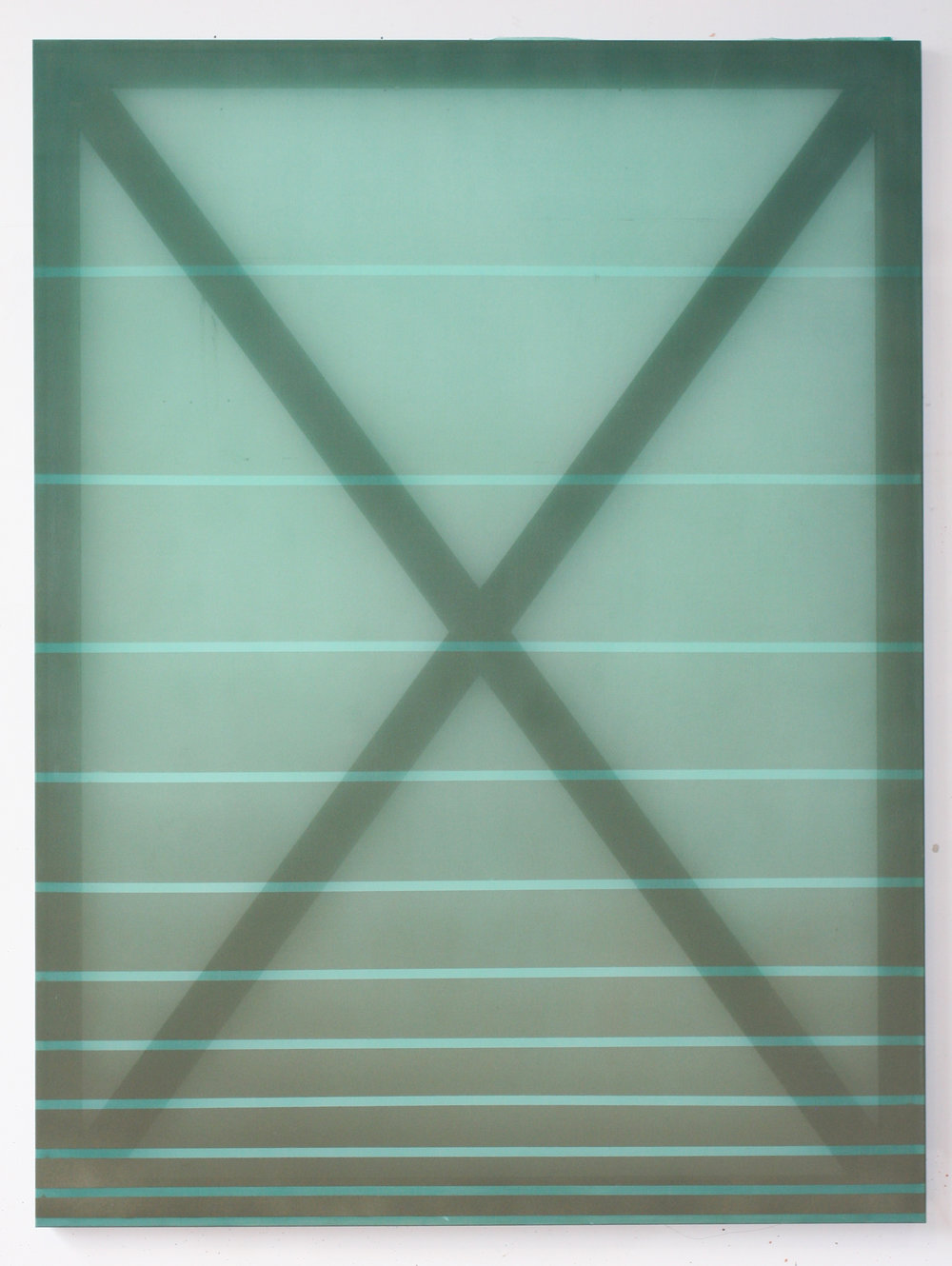 X (olive and green)  2014 oil and acrylic on silk 60 in x 45 in