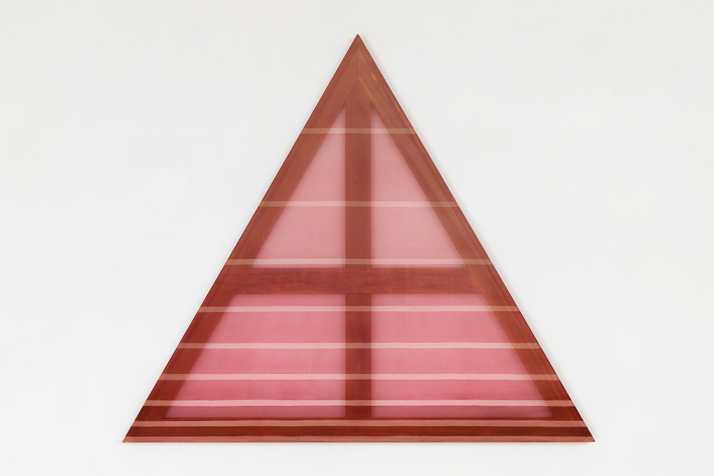 ∆ (cream and warm red)  2015 acrylic and dye on silk 45 in x 45 in