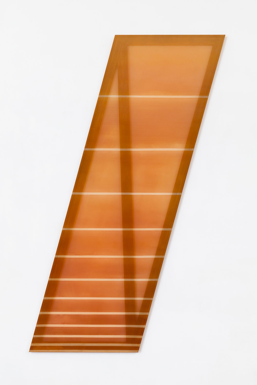 / (rust and tan) 2015 acrylic and dye on silk 80 in x 20 in