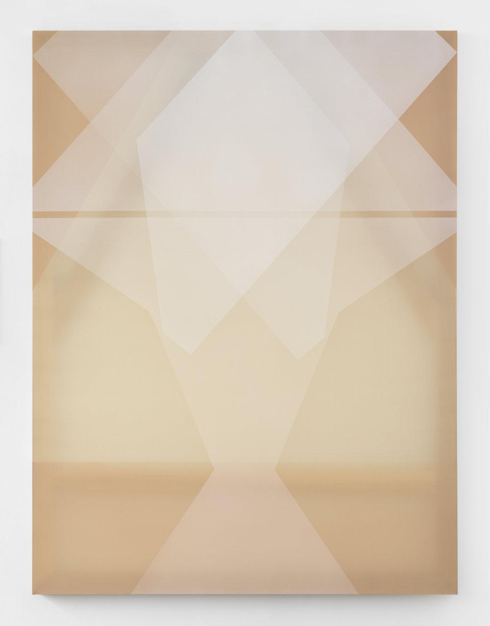 white morph  acrylic on silk 60 in x 45 in 2018