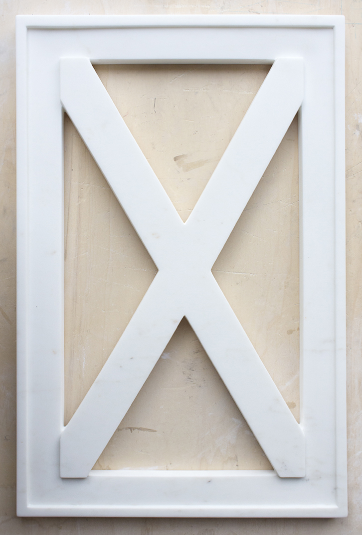 X (marmo)  cararra marble 70 x 45 cm 2017