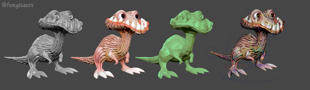 C-Rex development from digital sculpt (left) to game model (right)