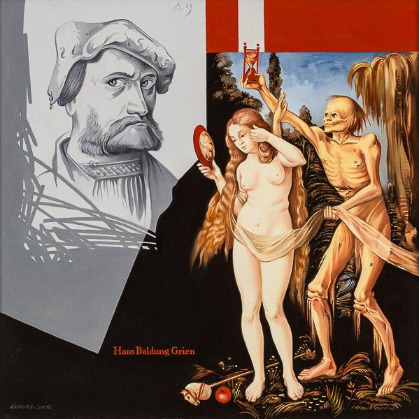 Olaj, vászon, 50 × 50 cm, 2012  – Hans Baldung Grien arcképe: Szénnel készült önarcképe után, 1534, Musée du Louvre, Párizs. – Két alak: A Nő három élete és a halál című kép részlete után, 1510,Kunsthistorisches Museum, Bécs.