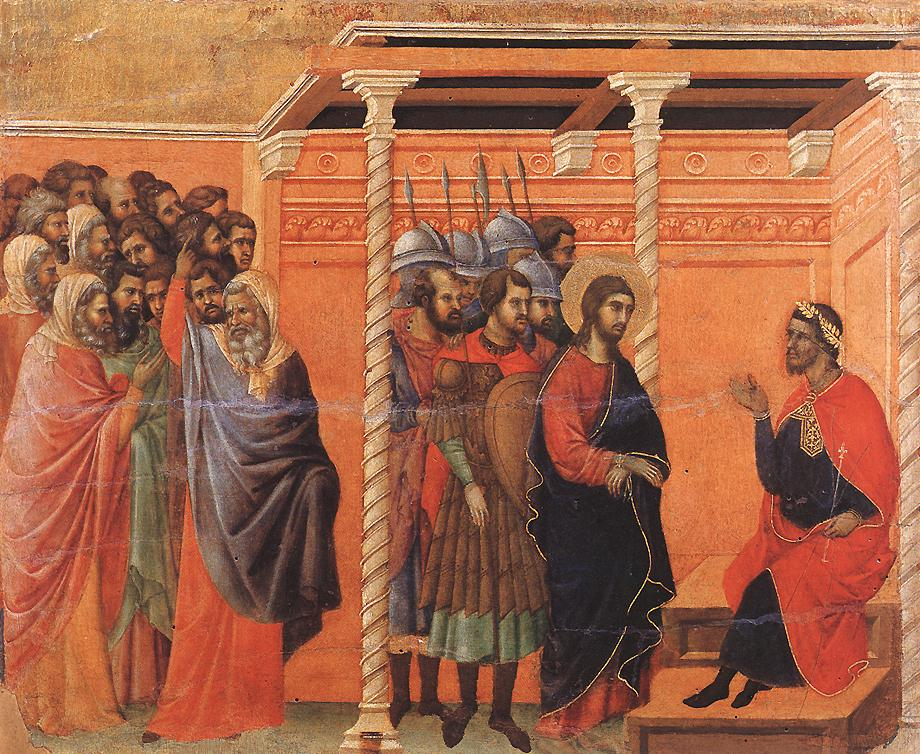 Pilate's first interrogation of Jesus.