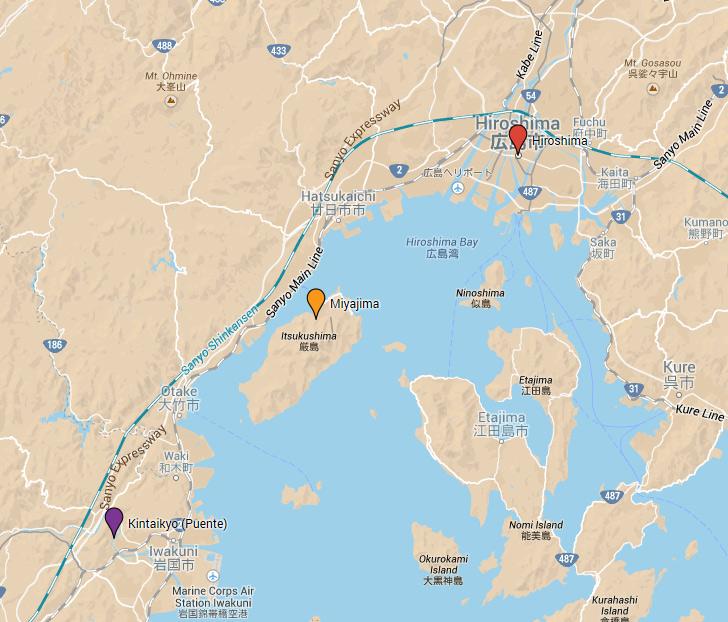 Lugares visitados en los alrededores de Hiroshima