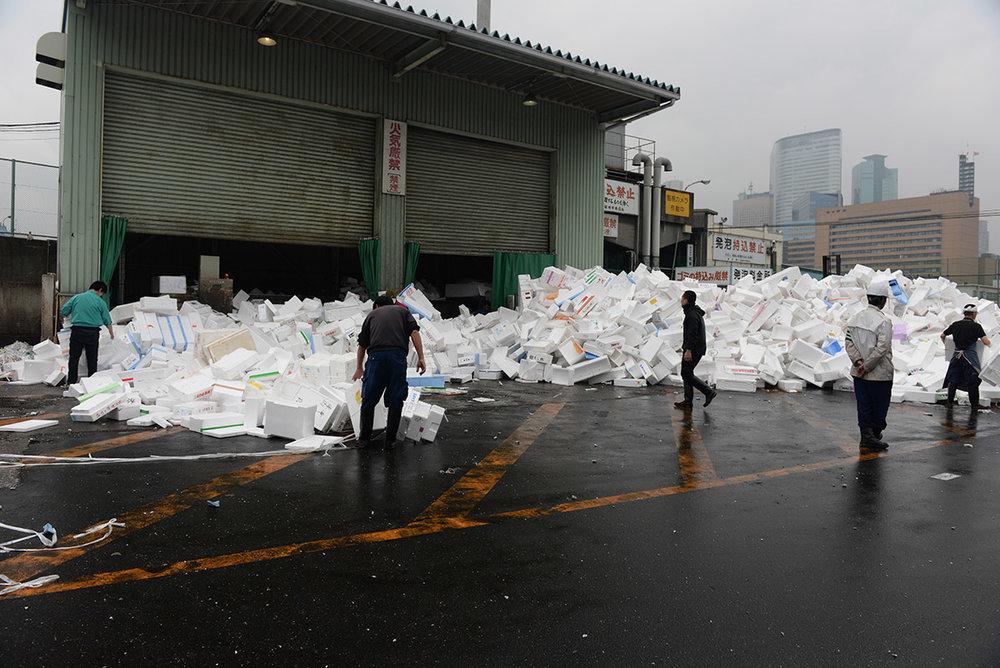 Reciclando todo lo que sobra - Mercado Tsukiji