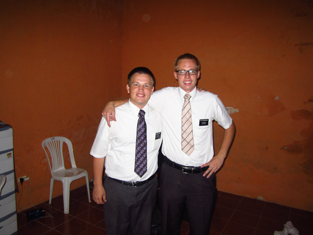 Elder Brunner (new missionary)and myself in our small apartment in El Coca.