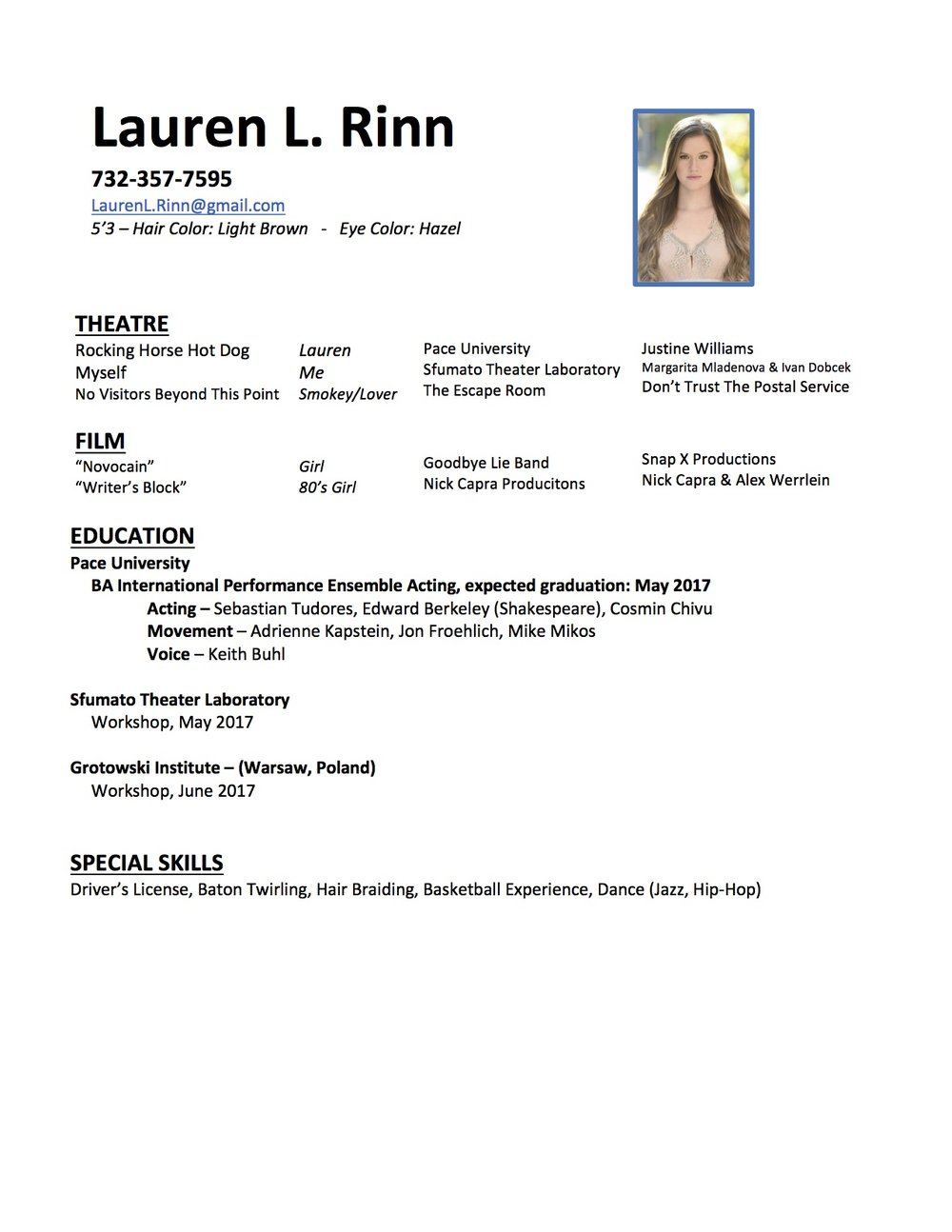 Acting Resume -