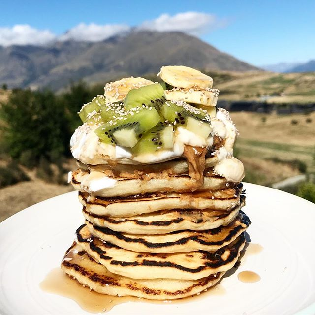 Breakfast with a view 😍 good morning, New Zealand! 🙌 @birchbenders paleo pancake mix topped with @georgiagrinders almond butter, local coconut yogurt, banana + kiwi slices + @salbachia chia seeds and a maple syrup drizzle (yes, I brought all of this with me to New Zealand cause it's just THAT good 🤤🙋🏽‍♀️) hope you all have the best day! ✨