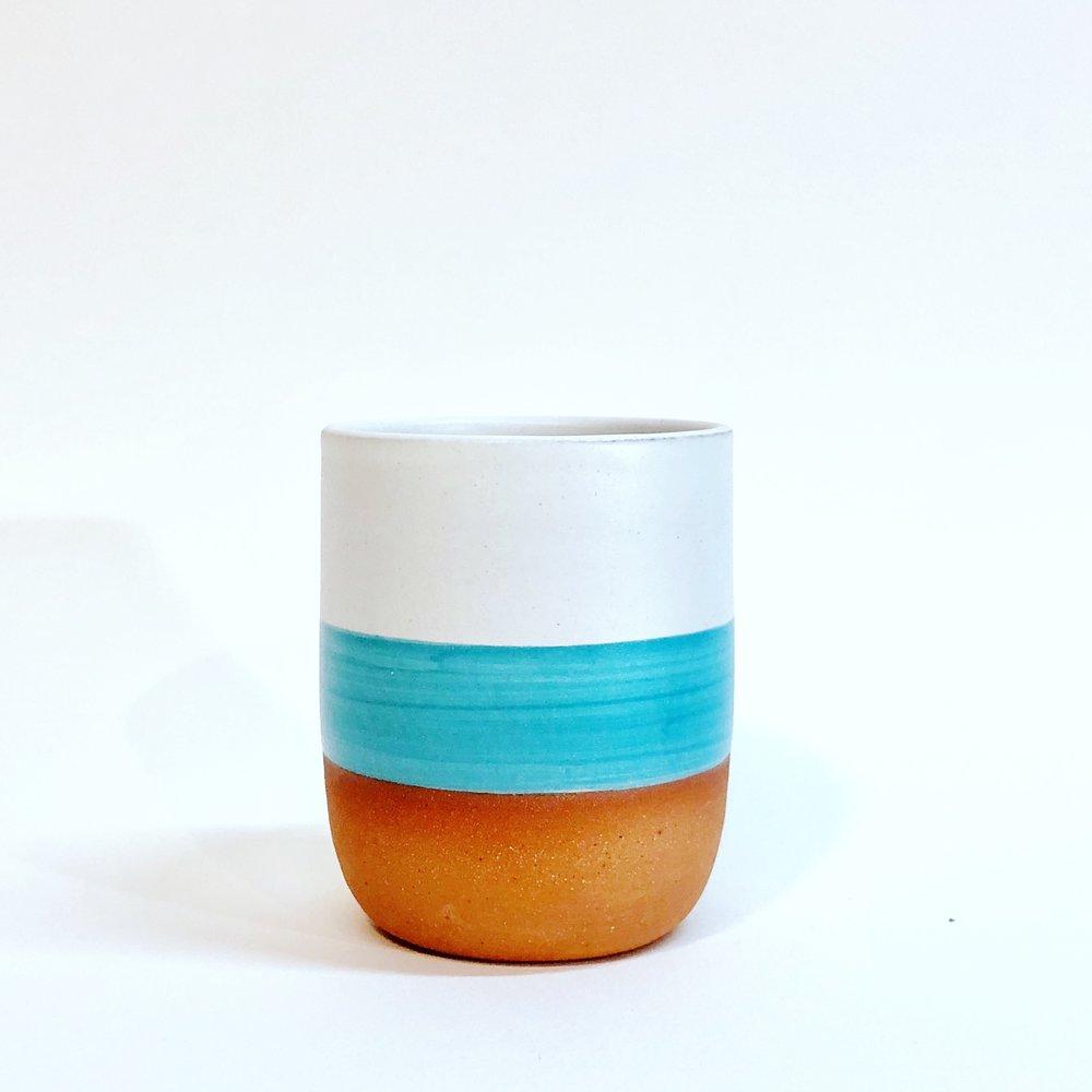 Wolf Ceramics Turquoise Stripe Tumbler