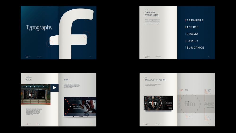 Pages from the extensive Film1 brand guidelines