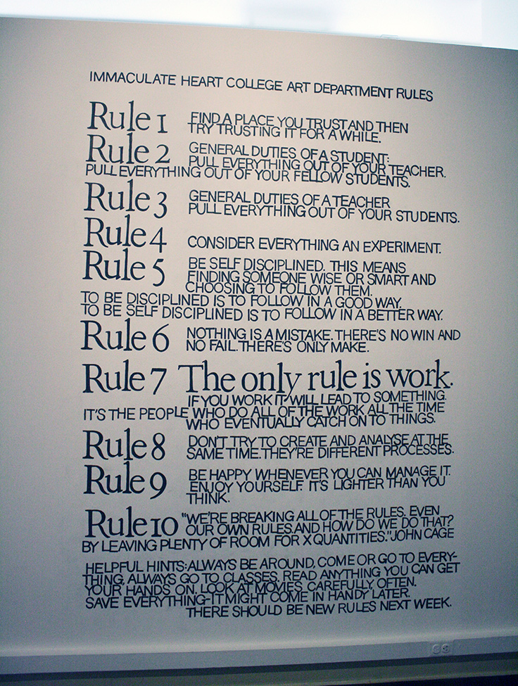 Sister Corita's Rules to live by
