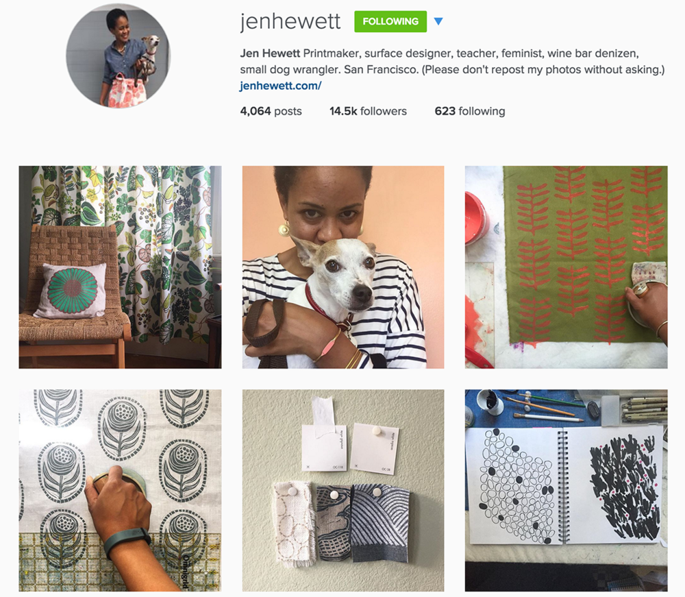Tips for artists getting started on Instagram - Example of Jen Hewett's account