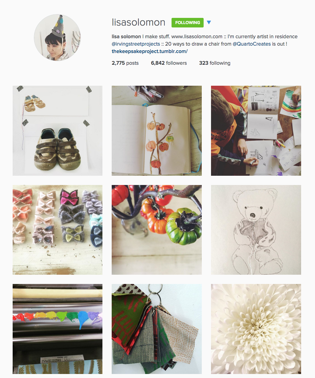 Tips for artists getting started on Instagram - Example of Lisa Solomons account