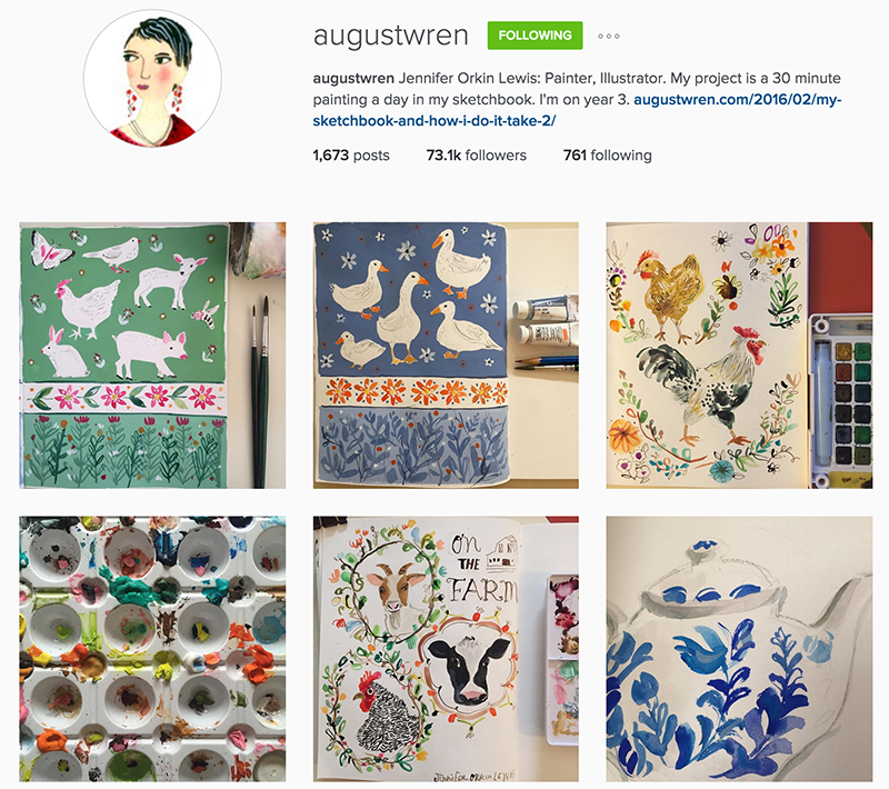 Painter August Wren does a fantastic job with creating a cohesive, beautiful Instagram feed