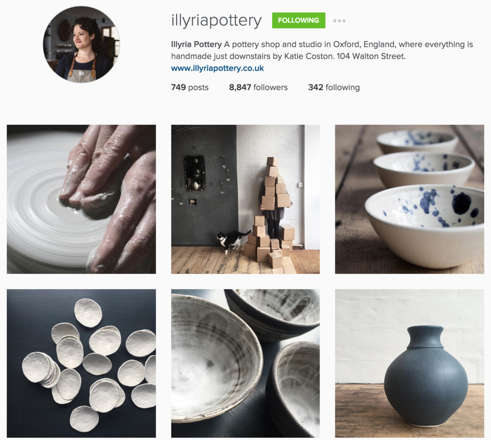 Illyria Pottery does a fantastic job with creating a cohesive, beautiful Instagram feed